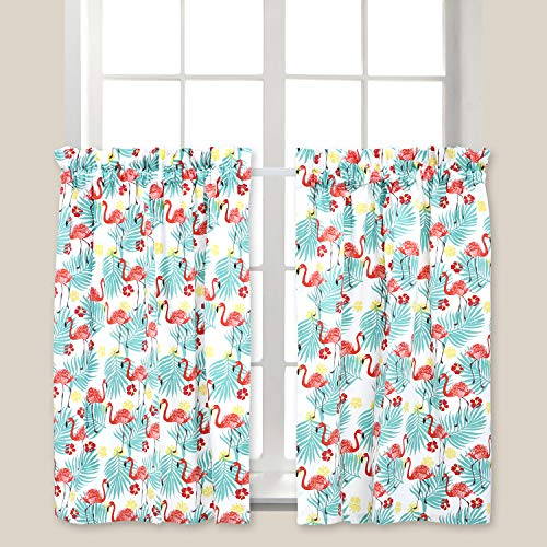 Cackleberry Home Tropical Flamingo Cafe Curtains 28 Inches W x 36 Inches L, Set of 2 (Flamingo Coral)