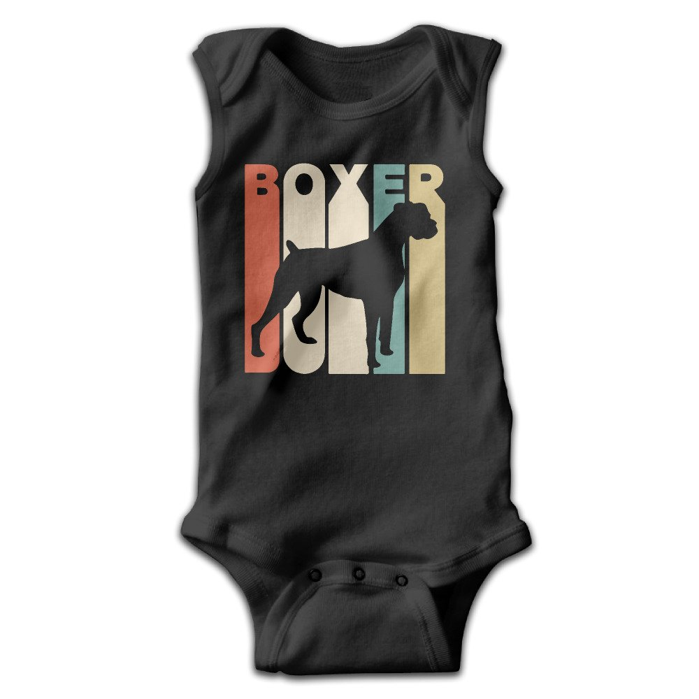 Vintage Style Boxer Silhouette For Newborn To 24 Months Unisex Baby Onesies Outfits Black