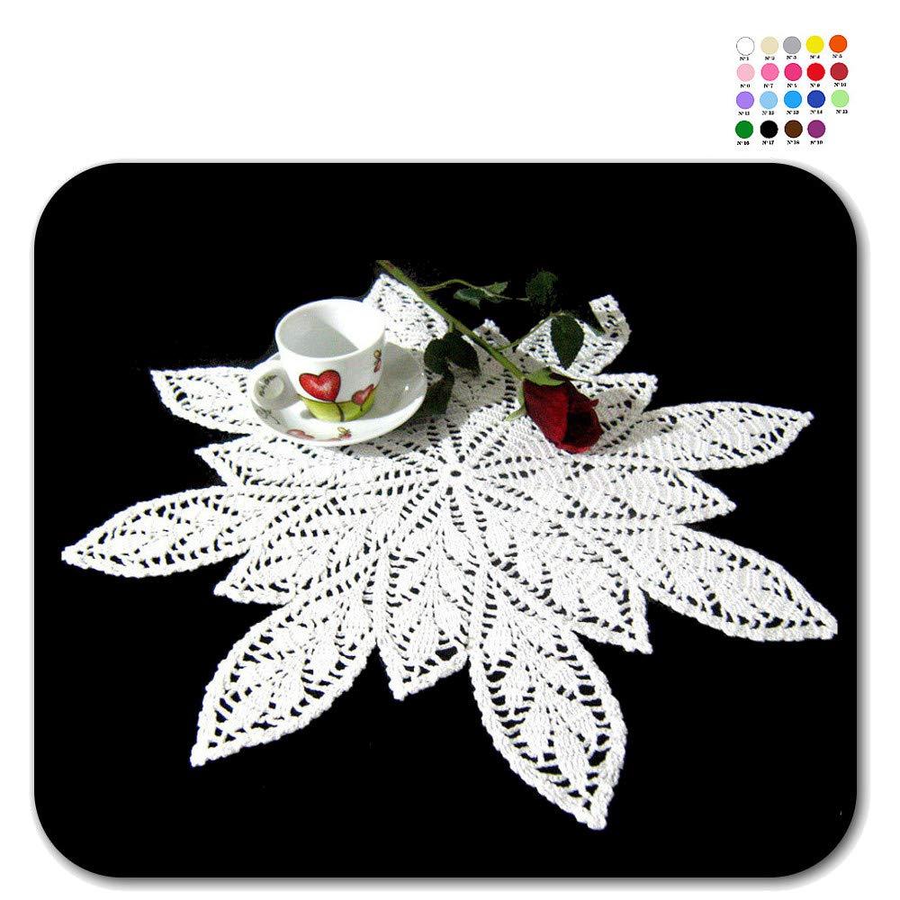 Tapete de ganchillo blanco con hojas en algodón - Tamaño: ø 46.5 ...
