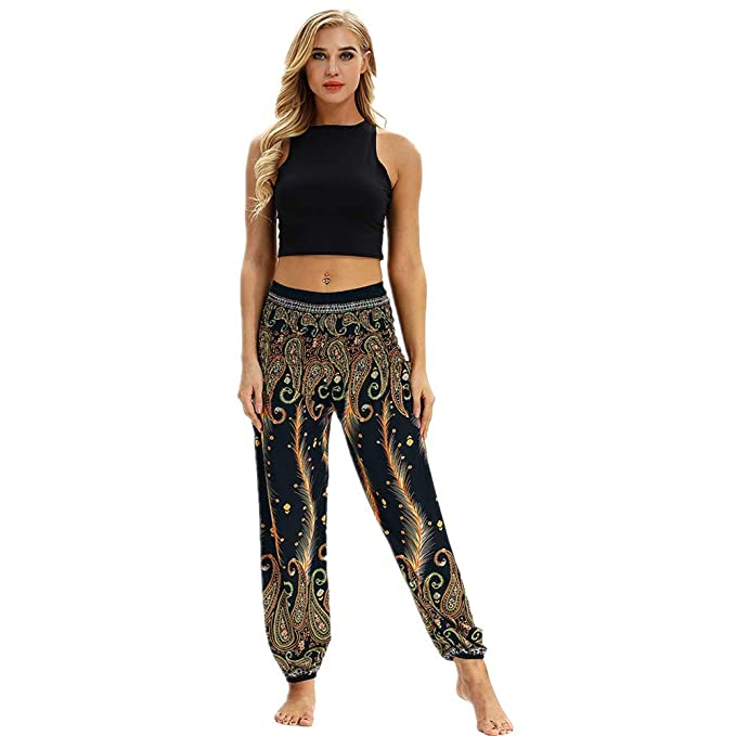 Boho Pantalones Anchos de Pierna Pantalones de Yoga,Mujer ...