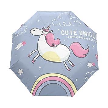 BENNIGIRY Sombrilla con Forma de Unicornio Arcoíris UV anticalornio Elegante Reverso 3 Gotas Plegables Resistente Paraguas