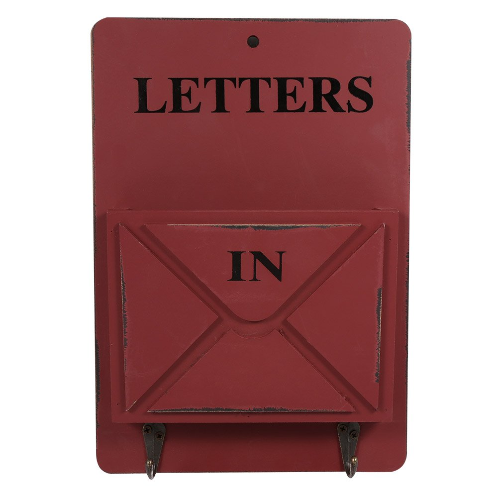 Zerodis Letter Holder, Wood Mail Box Letter Rack Key Holder Wall Storage Creative Vintage Home Decoration with Hook Hanger for Home Office Bar(Red)