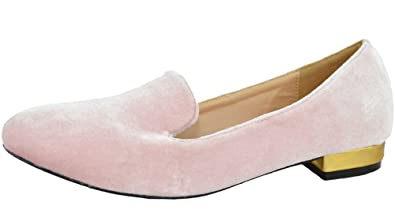 16dd9960c4c Chase   Chloe Women s Faux Velvet Smoking Slipper Loafer Flats (6.5 B(M)
