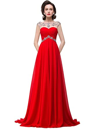Cap Sleeve Rhinestones Long Evening Dress Red Prom Dresses