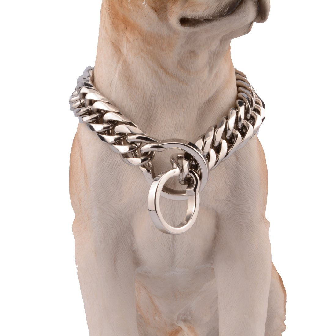 28inch Jewelry Kingdom 1 16 18mm Wide Double Curb Link Chain Stainless Steel Pet Dog Choke Chain Collar,Polishing Silver, 14-36  Long (18mm Wide, 28inch)