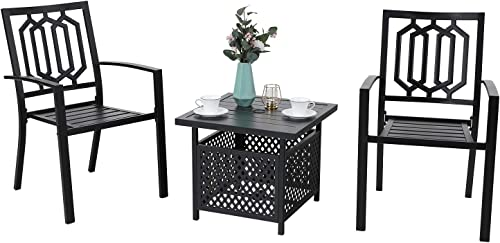 MFSTUDIO 3-Piece Steel Outdoor Bistro Furniture Set,Patio Set