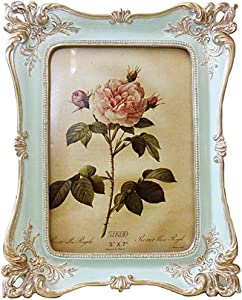 SIKOO Vintage Picture Frame 5x7 Tabletop and Wall Hanging Photo Frame with Glass Front for Home Decor (Blue)
