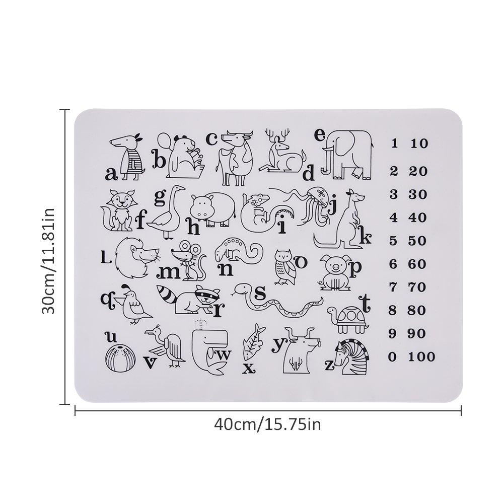 Graffiti innovador de silicona antideslizante para colorear mantel individual Lavable educativo Lavable para lavavajillas apto para lavavajillas sin BPA Mesa de ventosas con aislamiento Pad f/ácil de limpiar Juego de rotulador para ni/ños