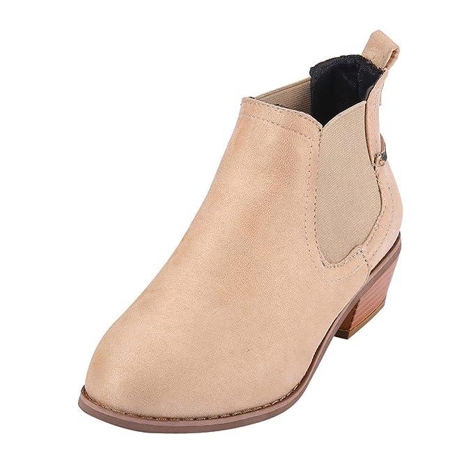 Mymyguoe Botas Mujer Invierno Zapatos Altas Tacon Zapatos con Punta Redonda Botines Plano Hebilla Correa Gamuza Color SóLido con Ribete Tobillo Y Punta ...