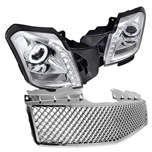Cadillac Cts Base V 4 Door, Chrome Halo Led Proj. Headlights, Mesh Style Grille (Headlights Cadillac Cts Halo)
