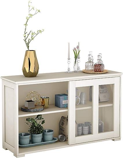 costway buffet de cuisine commode meuble de rangement avec 2 etageres porte coulissante design simple et contemporain ideal pour cuisine chambre