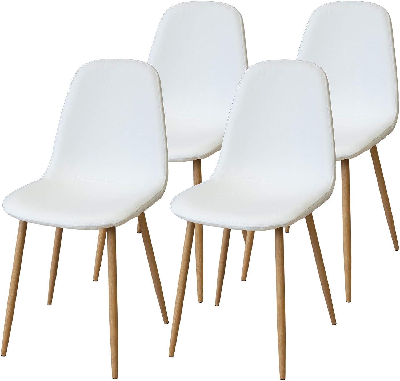Albatros sedie da Pranzo retrò FANO Set di 4 sedie, Bianco, SGS Testato