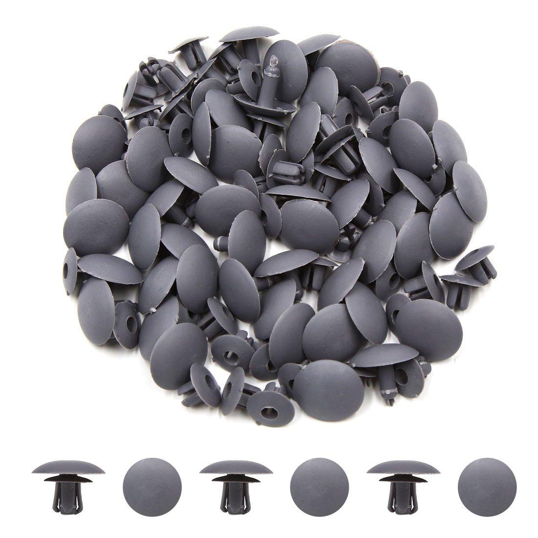 uxcell 50pcs 7mm Hole Car Plastic Clips Rivet Fit Boot Trim Panel Pin Fender Gray