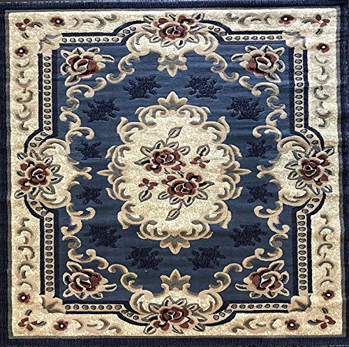 emirates Traditional Square Aubusson Persian Area Rug Light Blue with Red Design 507 (7 Feet 9 Inch X 7 Feet 9 Inch)