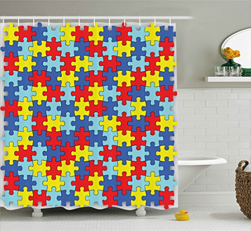 Colorful Autism Awareness Puzzle Pieces Bathroom Fashion Home Daycare Kindergarden Decor Accent Sweet Dreamy Lovely Art Prints for Kids Unisex Play Theme Print Fabric Shower Curtain, Blue Red Yellow