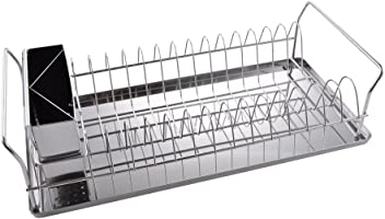 KES Adjustable In Sink Drying Rack Over the Sink Utensil Dish Drainer Basket Expandable Stainless Steel Large Silver PDR7