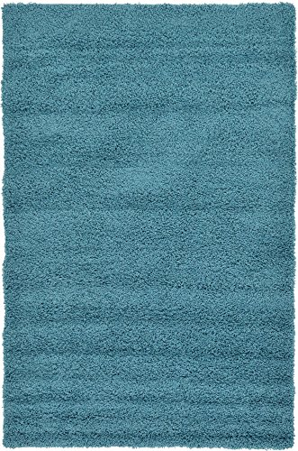 Unique Loom Solo Solid Shag Collection Modern Plush Deep Aqua Blue Area Rug (5' 0 x 8' 0) (Turquoise And Green Rug)