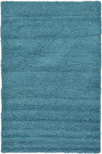 - Unique Loom Solo Solid Shag Collection Modern Plush Deep Aqua Blue Area Rug (5' 0 x 8' 0)
