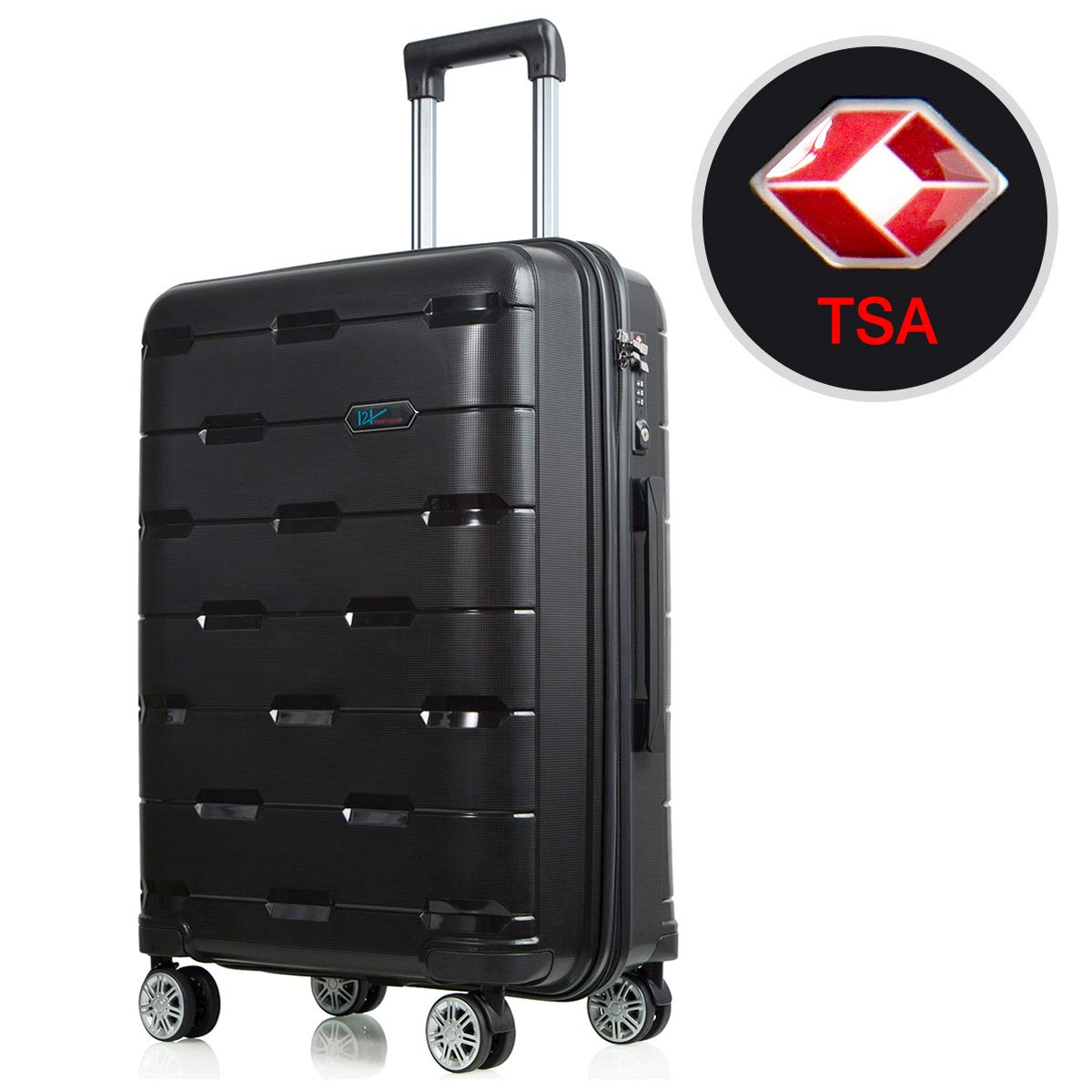 Lightweight Luggage Sets Hardside Spinner Trolley Expandable Luggage Bag for Travel and Business Luggage Set 24'' (Black)