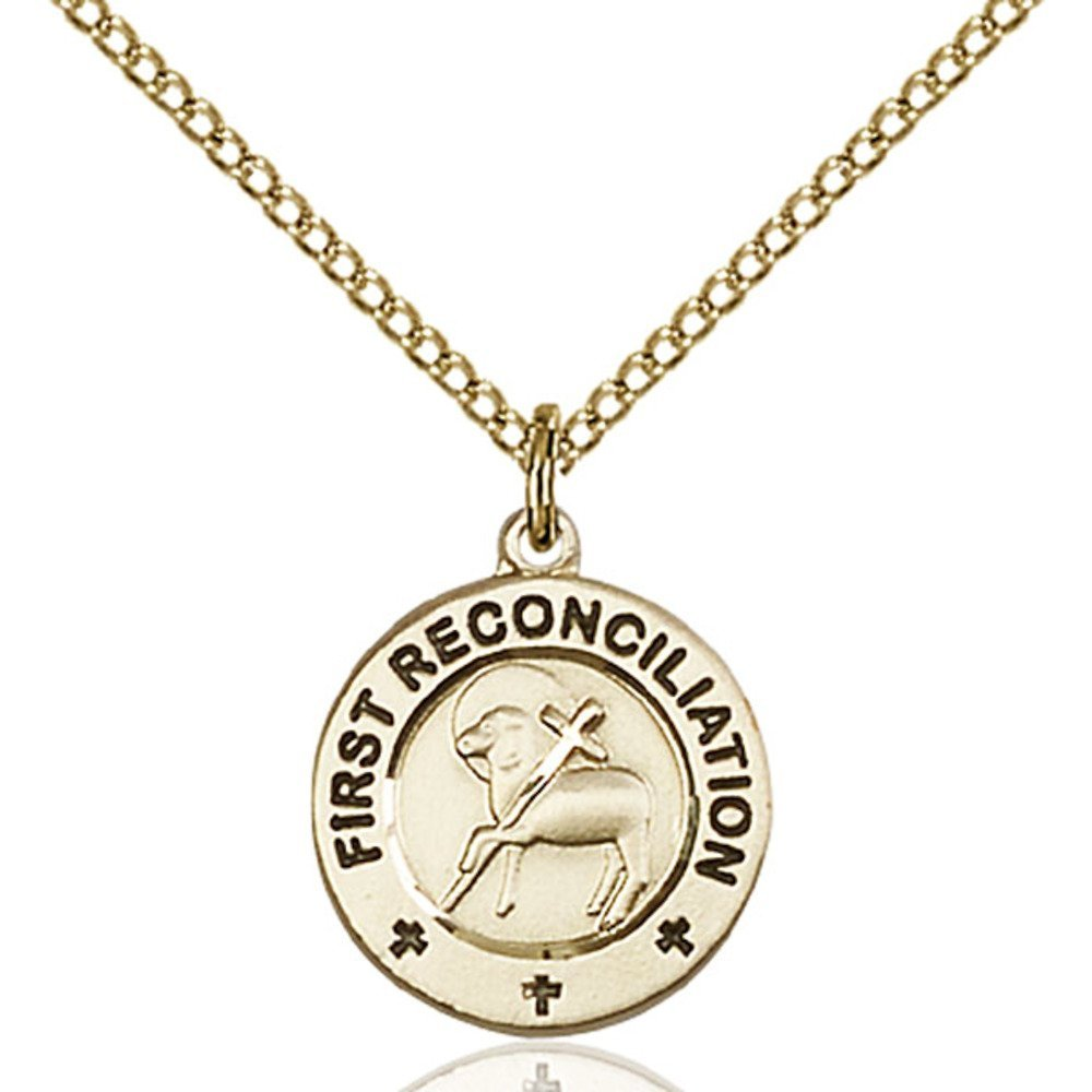 Bonyak Jewelry 金張り 初回回回回発信/ペナンスペンダント 5/8インチ x 1/2インチ 金張りライトカーブチェーン   B00P5O1WL2