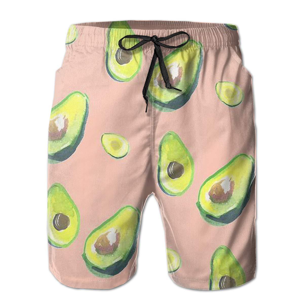 Wexzss Avocado Funny Summer Quick-Drying Swim Trunks Beach Shorts Cargo Shorts