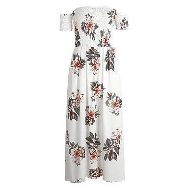 Huide Boho off ombro divisão vestido de verão Das Mulheres do vintage print floral chiffon maxi