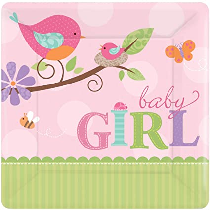Amazoncom Amscan Tweet Baby Girl Small Paper Plates 8ct Home