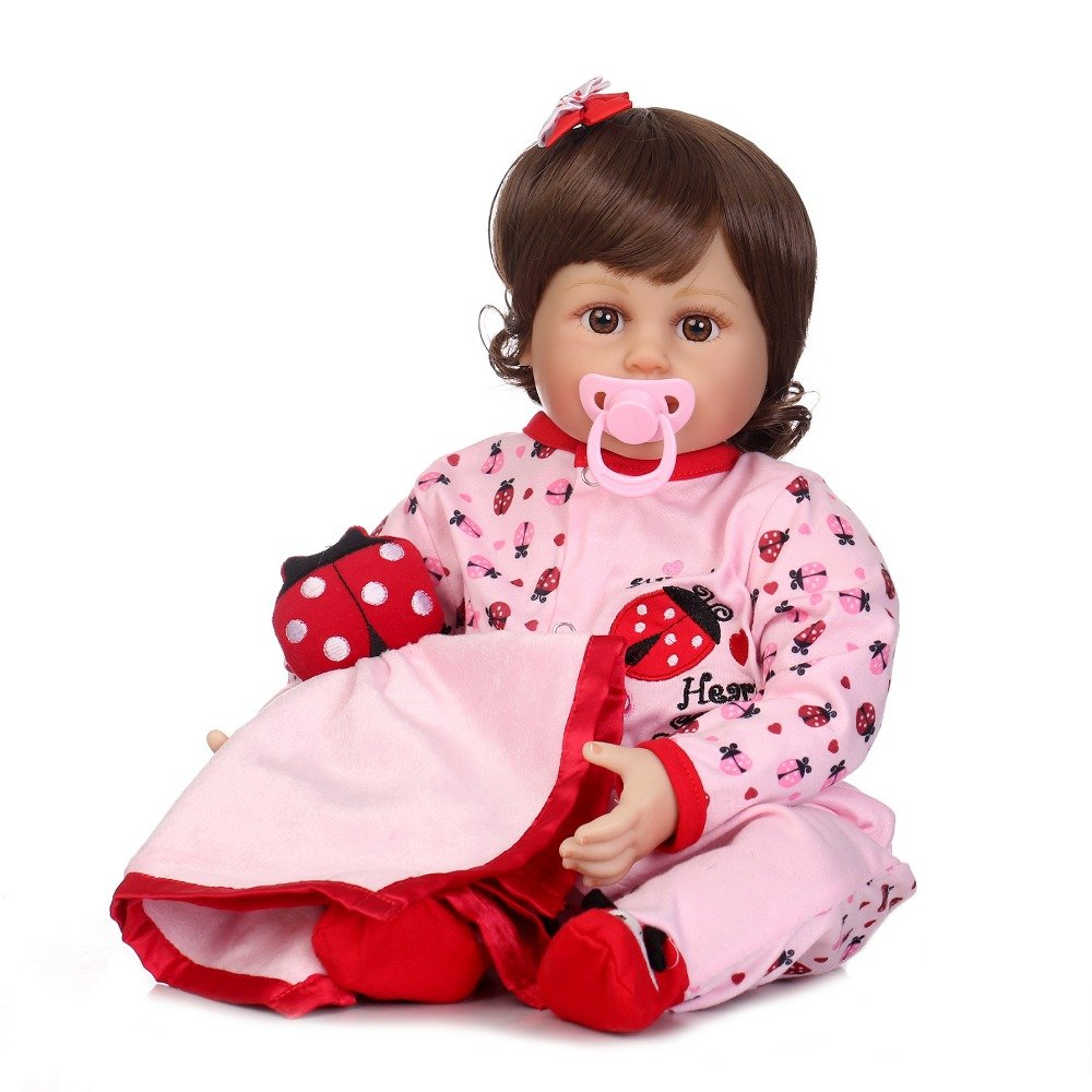 "icradle 22 "" 55 cm Rebornベビー人形ハンドメイドソフトビニール&シリコンLife Like新生児人形リアルな赤ちゃん人形slimilar Real Babies磁気口withダミーXmas Present Fasion Sweety Girl   B07DHJLK3N"