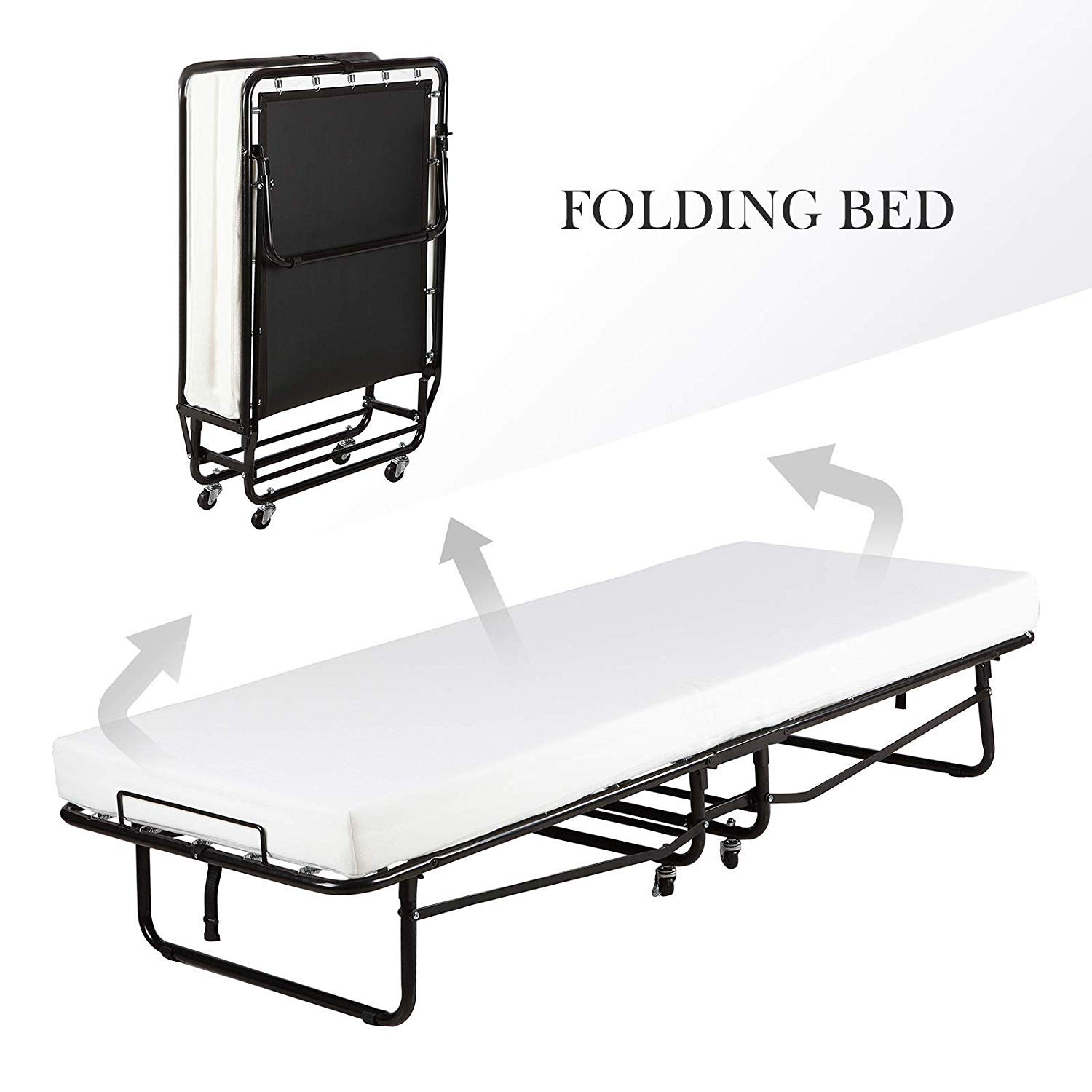 Mecor Folding Bed with Mattress, Metal Rollaway Guest Bed for Adults Heavy Duty Frame Fold Up with Wheels,Twin 75 by 31-inch