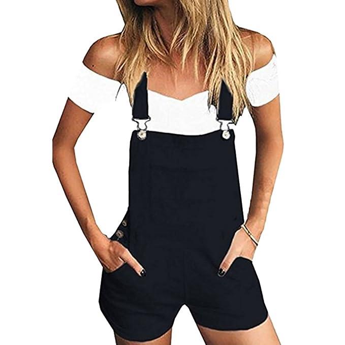 Shujin Damen Sommer Latzhose Denim Overall Kurz Jeans Jumpsuit Lässig  Playsuit mit Taschen 5cc872ba44