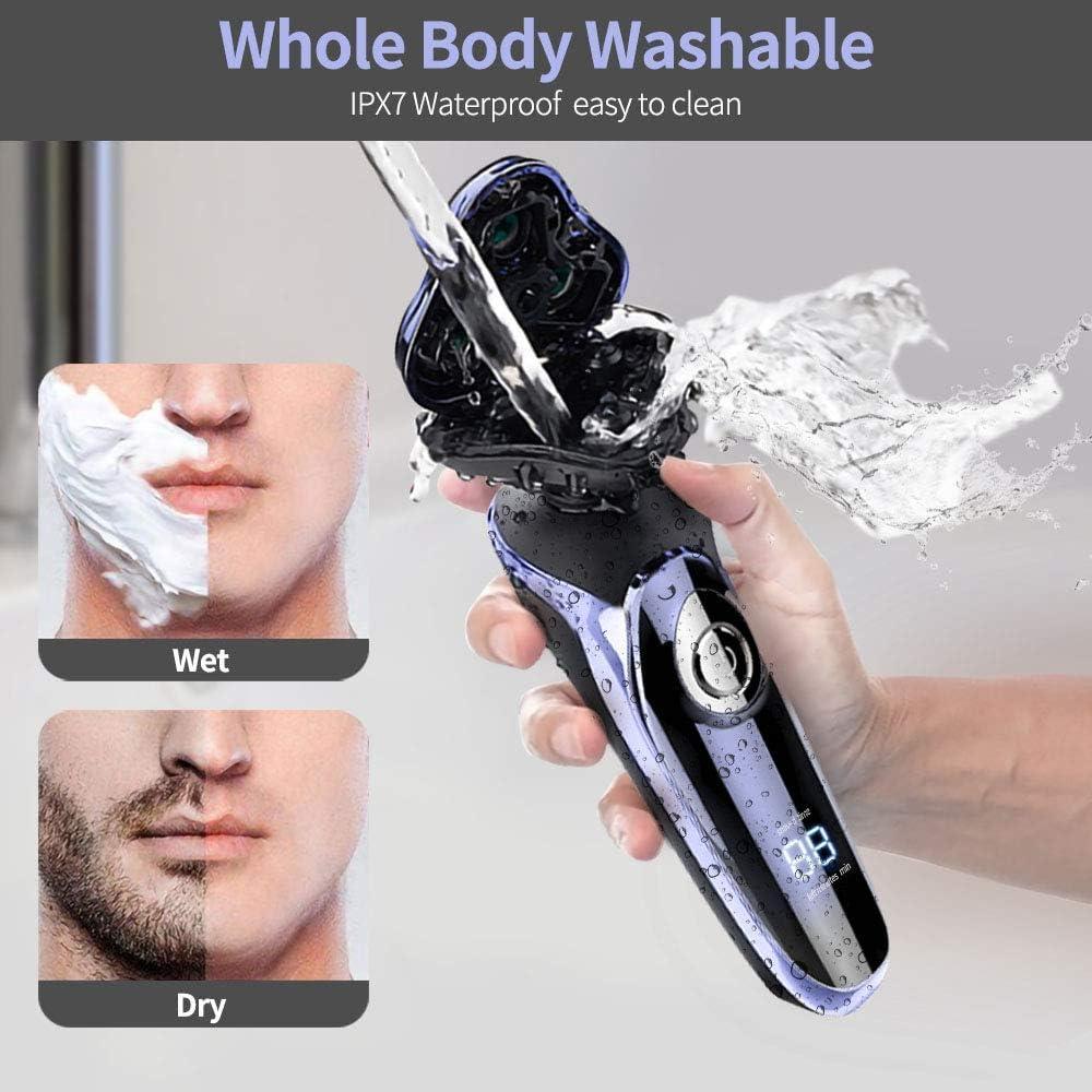 Afeitadora Rotativa Wet & Dry 5-en-1, 4 Cabezas Intercambiables ...
