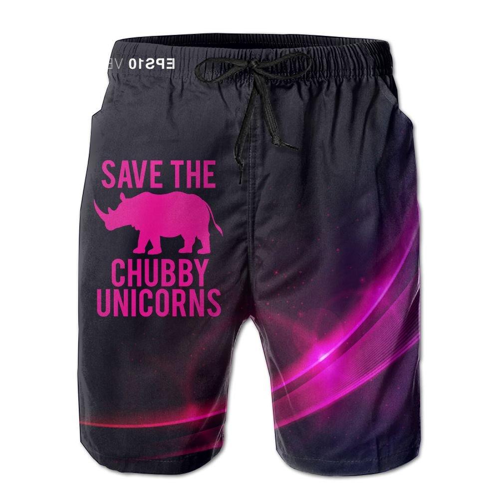 Save The Chubby Unicorns Men's Quick Dry Swim Trunks Boardshort