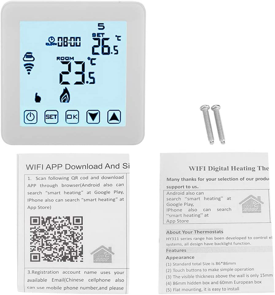 Thermostat Intelligent Sans fil WIFI Chauffage LCD Touch Screen Display APP Contrôle SS
