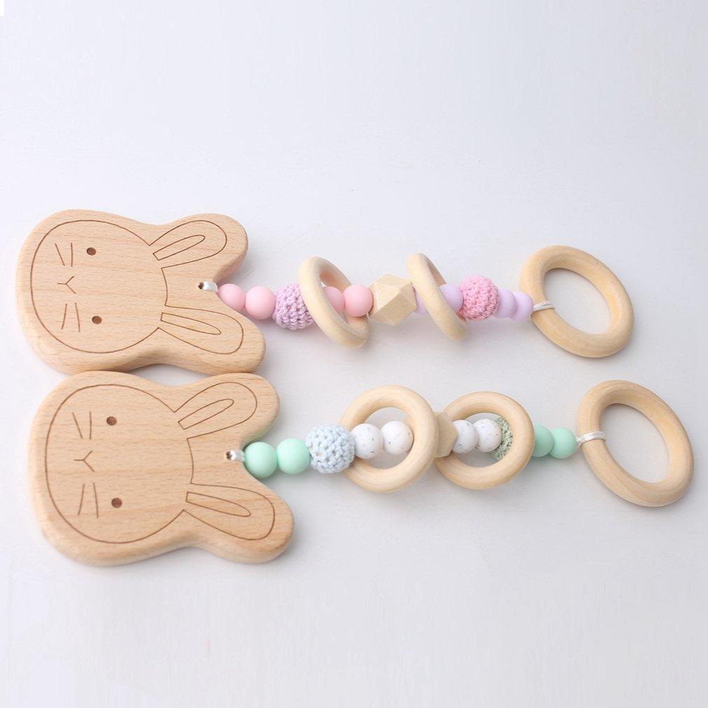 Mamimami Home 1 STÜCK Baby Pflege Anhänger Beißring Holz Häkeln Perlen Kaninchen Natürliche Kautabletten Silikon Perlen Lebensmittelqualität Bio Rassel Kinderkrankheiten Spielzeug (Rosa)
