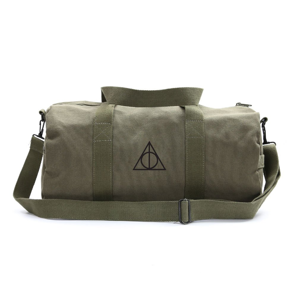 Deathly Hallows Harry Potter Sport Heavyweight Duffel Bag, Olive & Black Large