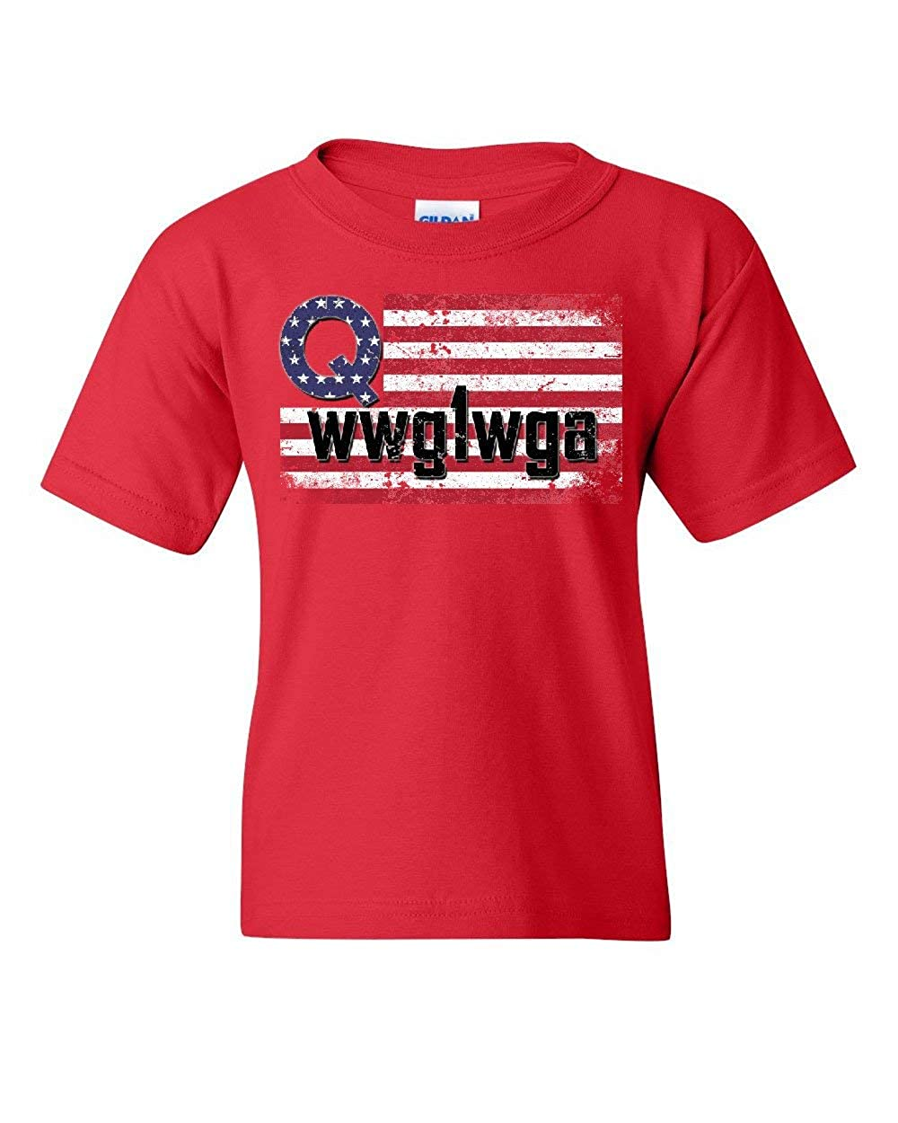 Distressed Q American Flag WWG1WGA Youth T-Shirt Deep State Patriotic Kids Tee