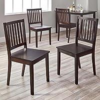 Slat back Shaker-style design Dining Chairs, Set of 4, Espresso