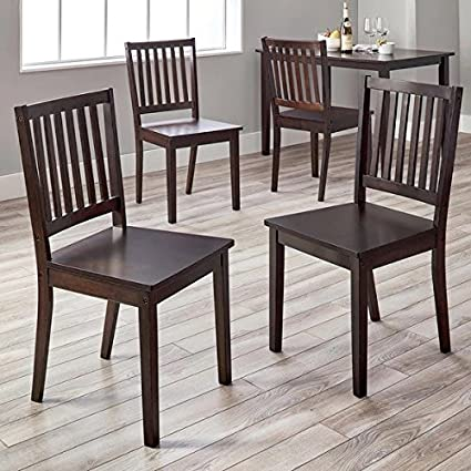 Genial Slat Back Shaker Style Design Dining Chairs, Set Of 4, Espresso