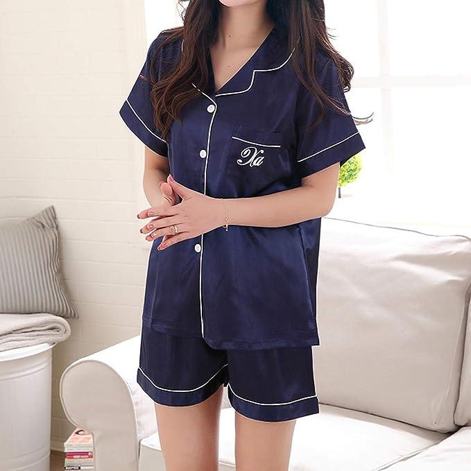 Rcool Camisones Batas y Kimonos Camisones Mujer Camisones Verano Camisones Tallas Grandes Mujer, Conjunto de Pijamas de Mangas Cortas de Color Puro de ...
