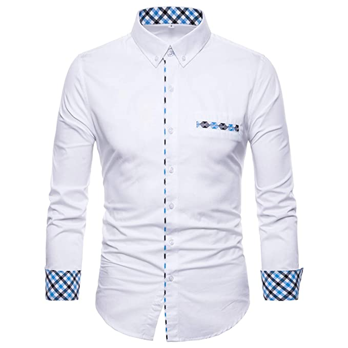 4853827ea74 Image Unavailable. Image not available for. Color  Manwan walk Mens Button  Down Dress Shirts Premium Casual Inner Contrast Casual Slim Fit Shirt