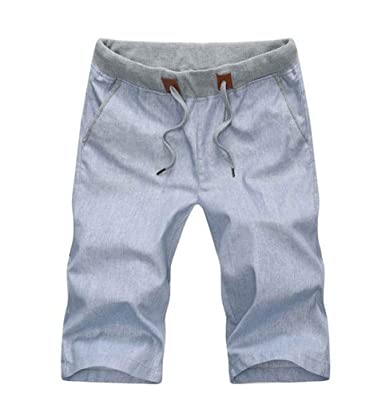 YuanDian Herren Sommer Freizeit Leinen Gummizug Taille Kordelzug Straight  Leg Chino Shorts Dünn Atmungsaktiv Bermudas Kurze dcc31de94e