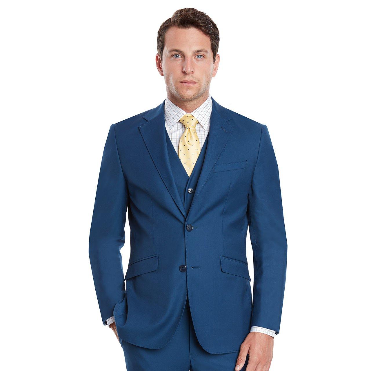 Mens Slim Fit Notched Lapel 3 Piece Suit Set Designed by Taheri French Blue 80/20(US 36R / EU 46R / Waist 30) by Sebastian Taheri Uomo (Image #2)
