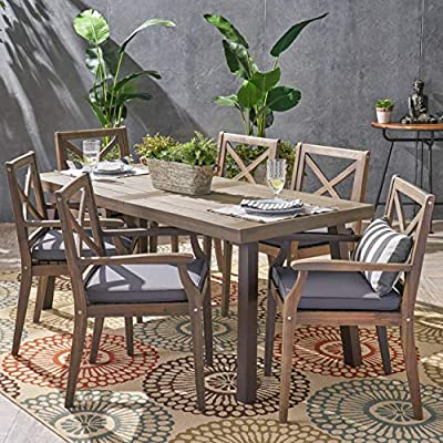 Christopher Knight Home 305777 Justin Outdoor 7 Piece Acacia Wood Dining Set, Teak, Gray Finish/Rustic Metal/Dark Gray - For the aspiring homemaker, one's dining table is akin to an artist's canvas. This outdoor dining set will transform your backyard patio or dining area into your own personal veranda, making every night a special occasion. Six comfortable chairs surround an exquisitely-constructed acacia wood table. Love your neighbor, share a meal, create memories that will last a lifetime Includes: One (1) Outdoor Dining Table and Six (6) Outdoor Dining Chairs. Cushion Material: Water Resistant Fabric. Frame Material: Acacia Wood. Table Leg Material: Iron Fabric Composition: 100% Polyester. Cushion Color: Dark Gray. Wood Finish: Gray. Leg Finish: Rustic Metal - patio-furniture, dining-sets-patio-funiture, patio - 61YwBU08dXL. SS400  -
