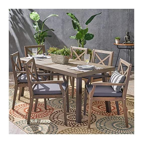 Christopher Knight Home 305777 Justin Outdoor 7 Piece Acacia Wood Dining Set, Teak, Gray Finish/Rustic Metal/Dark Gray - For the aspiring homemaker, one's dining table is akin to an artist's canvas. This outdoor dining set will transform your backyard patio or dining area into your own personal veranda, making every night a special occasion. Six comfortable chairs surround an exquisitely-constructed acacia wood table. Love your neighbor, share a meal, create memories that will last a lifetime Includes: One (1) Outdoor Dining Table and Six (6) Outdoor Dining Chairs. Cushion Material: Water Resistant Fabric. Frame Material: Acacia Wood. Table Leg Material: Iron Fabric Composition: 100% Polyester. Cushion Color: Dark Gray. Wood Finish: Gray. Leg Finish: Rustic Metal - patio-furniture, dining-sets-patio-funiture, patio - 61YwBU08dXL. SS570  -