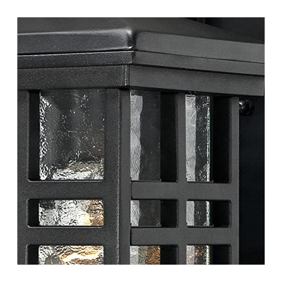 Westinghouse Lighting 6204500 Caliste 1 Light Outdoor Wall Lantern with Dusk to Dawn Sensor, Textured Black - One-light outdoor transitional wall lantern with dusk to dawn sensor, automatically turns on at dusk and off at dawn Textured Black finish on aluminum with clear water glass adds transitional Style to any outdoor setting 10 by 6 inches (H x w); extends 7-3/4 inches; 4 inches height from center of outlet box; back Plate is 8 by 5 inches (H x w) - patio, outdoor-lights, outdoor-decor - 61YwCIbYLWL. SS570  -