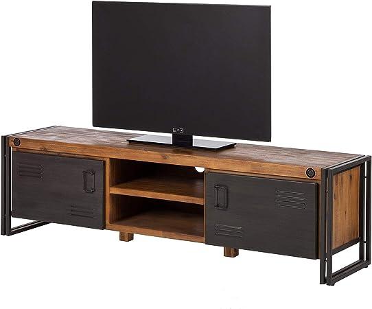 Meuble Tv 180 Cm Style Industriel En Bois Massif Et Metal 2 Portes Design Factory Vintage Workshop Amazon Fr Cuisine Maison