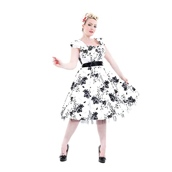 Hearts and Roses White and Black 50s Vintage Rockabilly Swing Party Prom Dress