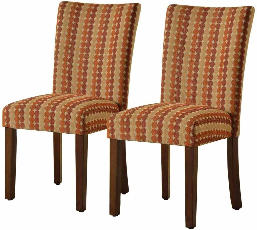 HomePop Parsons Upholstered Accent Dining Chair, Set of 2, Sienna Toned Circle