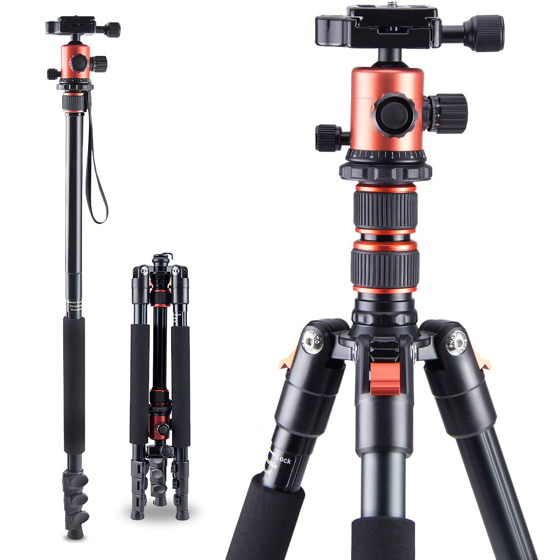 Beinuo 66'' Tripod,Camera Tripod for DSLR, Compact and Lightweight Aluminum Alloy Tripod with Monopod, Ideal for Travel and Work