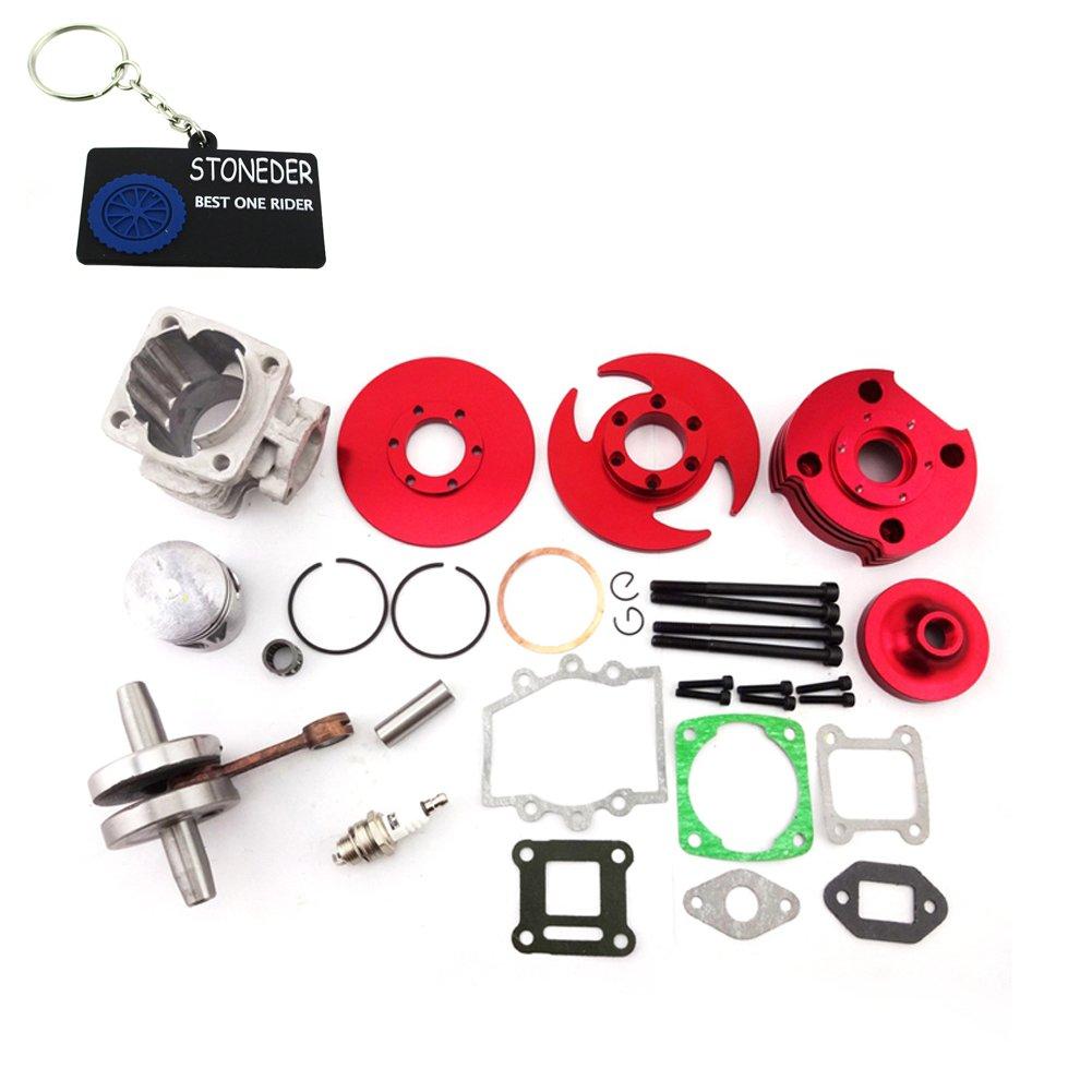 Cilindro Assy STONEDER color rojo de 44 mm para motor de 2 tiempos de 47 cc y 49 cc, ideal para Mini Dirt Pocket Bike, todoterreno, cuatrimoto o minimoto